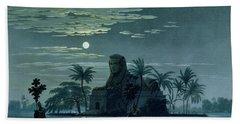 Garden Scene With The Sphinx In Moonlight Bath Towel