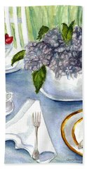 Hand Towel featuring the painting Garden Tea Party by Clara Sue Beym