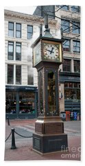 Bath Towel featuring the digital art Gastown Steam Clock by Carol Ailles