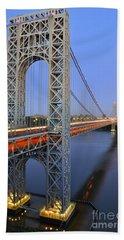 George Washington Bridge At Twilight Hand Towel