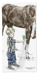Getting To Know You - Boy And Horse Print Color Tinted Hand Towel