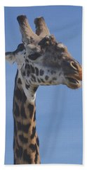 Giraffe Headshot Hand Towel by Tom Wurl