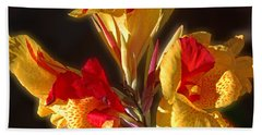 Hand Towel featuring the photograph Glowing Iris by DigiArt Diaries by Vicky B Fuller