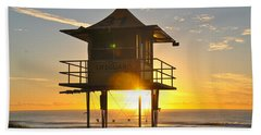 Bath Towel featuring the photograph Gold Coast Life Guard Tower by Eric Tressler