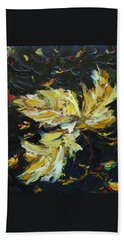 Hand Towel featuring the painting Golden Flight by Judith Rhue