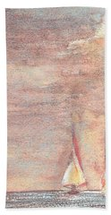 Hand Towel featuring the painting Golden Sails by Richard James Digance