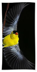 Bath Towel featuring the photograph Goldfinch High Wire Act by Randall Branham