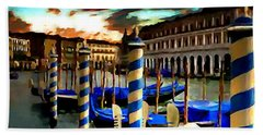 Gondolas Under A Summer Sunset Hand Towel