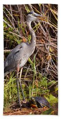Great Blue Heron And Turtle Hand Towel