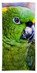 Green Parrot Bath Towel