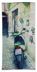 Green Vespa In Prague Hand Towel by Linda Woods