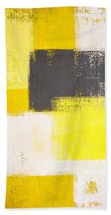 Simply Modern - Grey And Yellow Abstract Art Painting Bath Towel