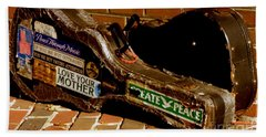 Guitar Case Messages Bath Towel by Lainie Wrightson