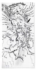 Bath Towel featuring the drawing Gule Wamkulu - Malawi by Gloria Ssali