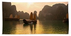 Bath Towel featuring the photograph Halong Bay - Vietnam by Luciano Mortula