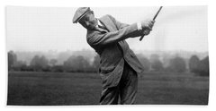 Hand Towel featuring the photograph Harry Vardon Swinging His Golf Club by International  Images