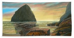 Hand Towel featuring the painting Haystack Kiwanda Sunset by Chriss Pagani