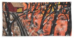 Hand Towel featuring the painting Hazy Shade Of Winter by Jeffrey Koss