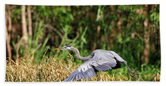 Heron Flying Along The River Bank Hand Towel
