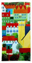 Bath Towel featuring the painting Hillside Village by Barbara Moignard