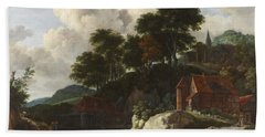 Hilly Landscape With A Watermill Bath Towel