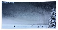 Bath Towel featuring the photograph Hockey On Lake Louise by Alyce Taylor