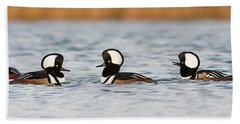 Hooded Mergansers Bath Towel by Mircea Costina Photography