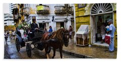 Horse And Buggy In Old Cartagena Colombia Hand Towel