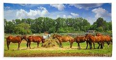 Horses At The Ranch Hand Towel