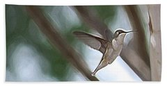Hand Towel featuring the photograph Hummingbird by Donna  Smith