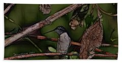 Bath Towel featuring the photograph Hummingbird Waiting For Dinner by EricaMaxine  Price