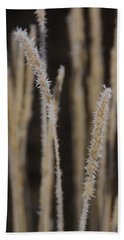 Bath Towel featuring the photograph Ice Crystals On Tall Grass by Mick Anderson