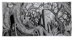 Hand Towel featuring the drawing in my garden II by Mariusz Zawadzki