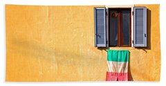 Italian Flag Window And Yellow Wall Hand Towel by Silvia Ganora