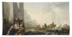 Italian Peasants Among Ruins Hand Towel by Jan Weenix
