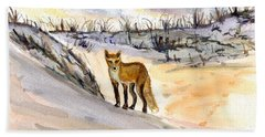 Hand Towel featuring the painting Jersey Shore Fox by Clara Sue Beym