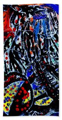Bath Towel featuring the painting Jesus Meets Mary On Calvary by Gloria Ssali