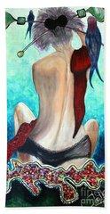 Lady In Red Hand Towel by Jolanta Anna Karolska