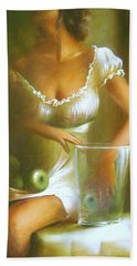 Lady With Green Apples Bath Towel by Vali Irina Ciobanu