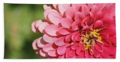 Hand Towel featuring the photograph Large Pink Zinnia by Donna  Smith
