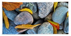 Bath Towel featuring the photograph Leaves And Rocks by Bill Owen