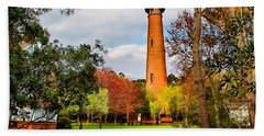 Lighthouse At Currituck Beach Bath Towel by Nick Zelinsky