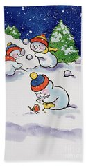 Little Snowmen Snowballing Bath Towel