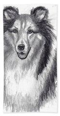 Bath Towel featuring the drawing Looks Like Lassie by Julie Brugh Riffey