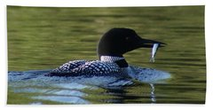 Loon With Minnow Hand Towel by Steven Clipperton