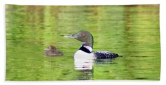 Loons Big And Small Hand Towel by Steven Clipperton