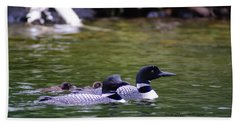 Bath Towel featuring the photograph Loons With Twins 4 by Steven Clipperton