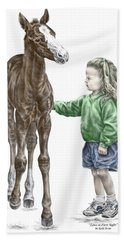 Love At First Sight - Girl And Horse Print Color Tinted Hand Towel