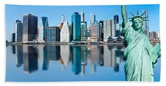 Hand Towel featuring the photograph Manhattan Liberty by Luciano Mortula