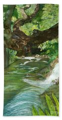 Bath Towel featuring the painting Maya Ubud Tree Bali Indonesia by Melly Terpening